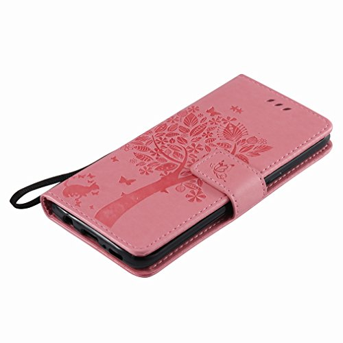 Yiizy Samsung Galaxy S8 Custodia Cover, Alberi Disegno Design Sottile Flip Portafoglio PU Pelle Cuoio Copertura Shell Case Slot Schede Cavalletto Stile Libro Bumper Protettivo Borsa (Rosa)