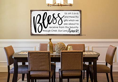 CELYCASY Bless Us Oh Lord Sign Rustic Farmhouse Decor Dinner Blessing Grace Dining Room Sign Meal Prayer Kitchen Decor Hand Lettered Gift for Her Art