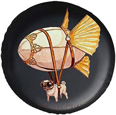 スチームパンクなパグプ Pug Dog タイヤカバー タイヤ保管カバー 収納 防水 雨よけカバー 普通車・ミニバン用 防塵 保管 保存 日焼け止め 径83cm