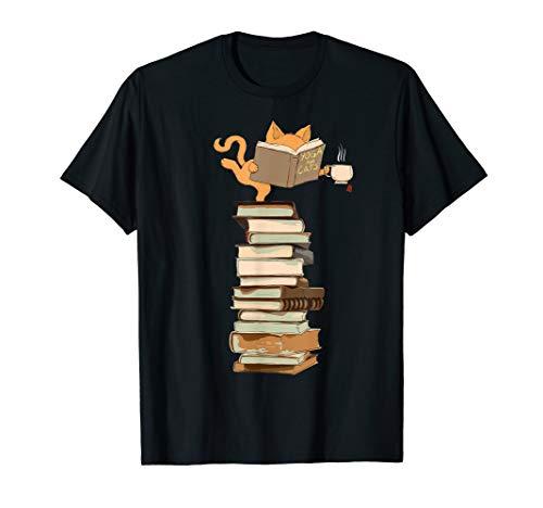 (Yoga Kittens, Cats, tea and books gift t shirt T-Shirt)