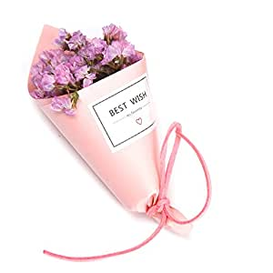 ZYXY Birthday Artificial flower Bouquet, Manual Christmas Gifts Photo Props, Set of 2 (Pink paper tube, Pink)