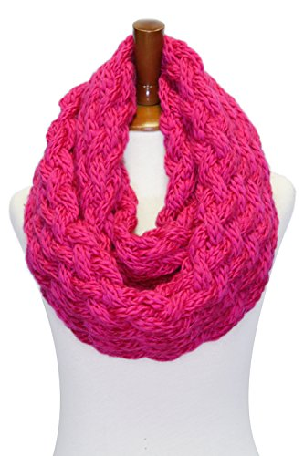 (Basico Women Winter Chunky Knitted Infinity Scarf Warm Circle Loop Various Colors (Chunky Hot Pink))