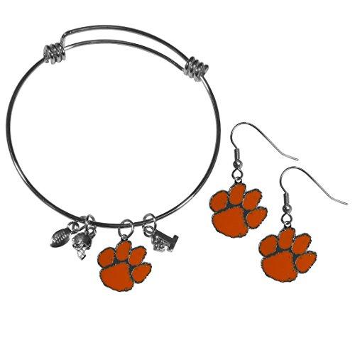 Siskiyou NCAA Clemson Tigers Dangle Earrings & Charm Bangle Bracelet Set ()