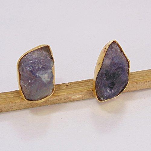 18k Gold Vermeil Blue Sapphire Post Studs Earrings For Ladies Birthday Gift