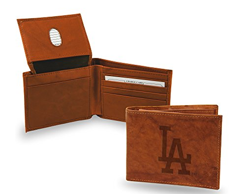 Los Angeles Dodgers New Design Wallet Premium Brown LEATHER BillFold Embossed Bifold (Los Angeles Dodgers Leather)