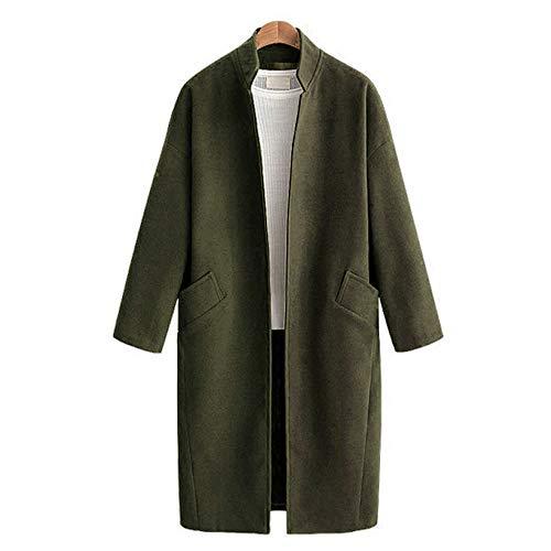 Fashion Winter Drop-Shoulder Sleeve Solid Outwear Pockets Women Mandarin Collar Blends Cardigan Female Long Casual Wool Coat ()