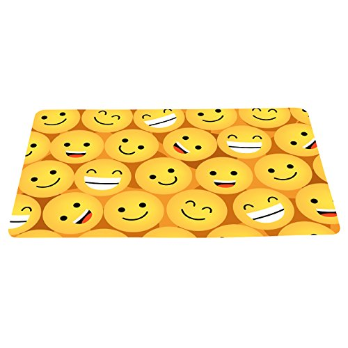 wizardry1986 Cartoon Multiple Smiling Faces Doormat Smile Emoticons Yellow Background Floor Mat With Non-Slip Backing Novelty Bath Mat Rug Funny Home Decor (16