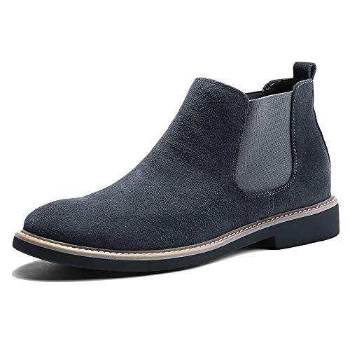 WKNBEU Chelsea Boots Uomo Blu Nero Suede Vintage Business Formale Sposa Marrone Martin Booties Lavoro Ufficio Antiscivolo Grigio Uomo Stivaletto C