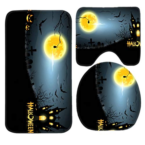 Geng Fenki 3 Piece Bath Mat Set Halloween Moon Bathroom Mats Contour Toilet Cover Rug]()