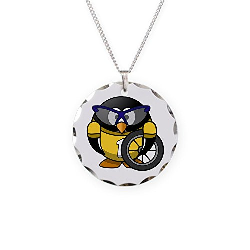 Necklace Circle Charm Little Round Penguin - Cyclist in Yellow Jersey