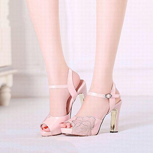 sandales sexy avec Rose féminines talons Shoes long235mm à Rose L'Europe les hauts Etats 37 Single female et shoes poisson Unis bouche chaussures de taille des Couleur 07xfAZw6