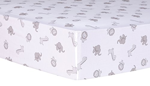 Trend Lab Safari Chevron Animals Fitted Crib Sheet - Gray