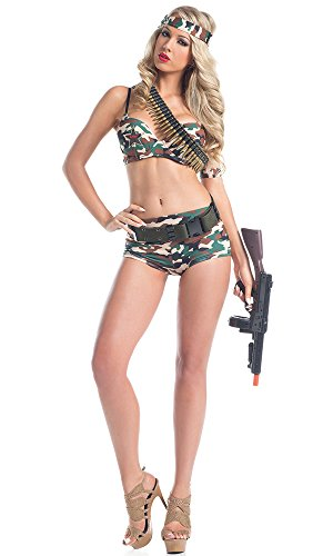 [Be Wicked Women's 5 Piece Army Commando, Camouflage, Small/Medium] (Sexy Army Costumes For Women)