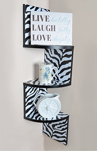 Review Adorn 3-Tier Corner Shelf, Wall Mount, Zebra with Black Edging By Adorn Home Essentials by Adorn Home Essentials