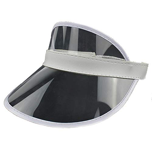 Fashion Women Sun Hat Summer PVC Casual Unisex Shade Hat Adult UV Beach Cap Adjustable Plastic Visor,Transparent]()