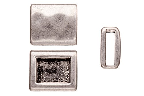 - Personalized bracelets charms, antique Matte silver-plated, hammer tone square patterned square slider beads