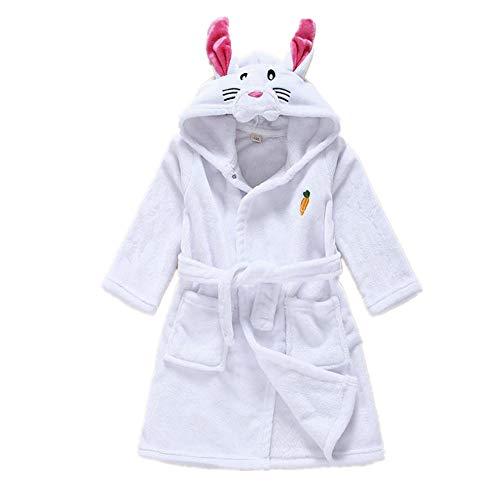Kids Bathrobes One-Piece Pajamas Plush Animal Cosplay Costume(White 110-For Height 110Cm) -