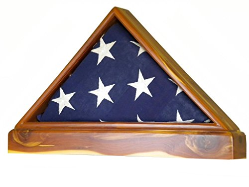 Aromatic Cedar Flag Display Case WITH BASE for 5 x 9.5' Memorial Flag, USA Made, Superior Quality by USAFlagCases