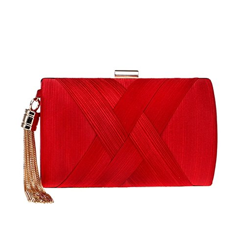 Bridesmaid Shoulder Wedding Bag Bag Fringe Delicate Dress Evening Silk FZHLY Bridal Clutch Cross Clutch Bag Evening Red Women 1vBqOU
