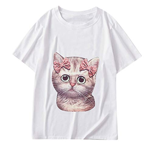 Graphic t Shirt for Women,SMALLE◕‿◕ Women 10 Designs Cute Cat T Shirt Summer Short Sleeve Loose Tops Graphic Tees