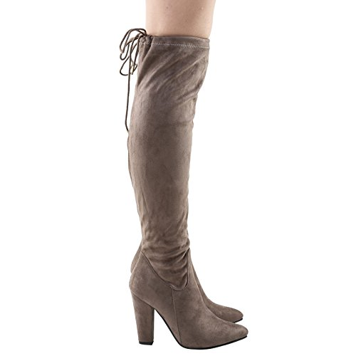 Feet First Fashion Ivone Womens Mid Block Heel Over The Knee Tie Top Boots Khaki Taupe Faux Suede ANI0sY