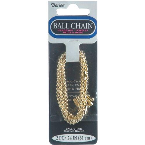 Ball Chain 2 4mmx24 2 Pkg Gold Plated