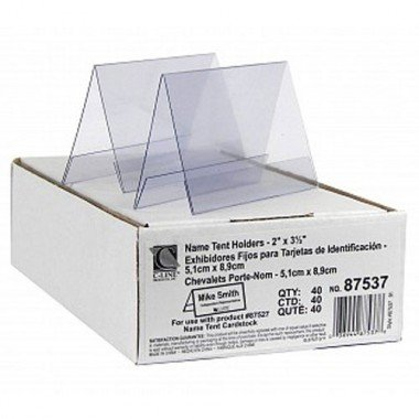 C-LINE PRODUCTS, INC 87537 Tent Card Holder, 2 x 3 1/2, Clear, 40/Box