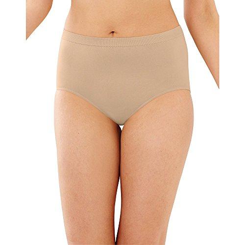 Bali Women's 3-Pack Solid Microfiber Full Brief Panty,P27-3 Nude,9