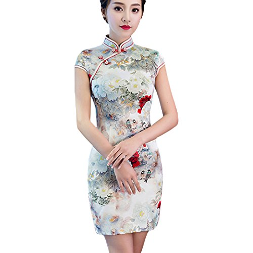 Partiss Women Sexy Cotton Floral Qipao Cheongsam Mini Chinese Evening Dress,Chinese M,As Picture