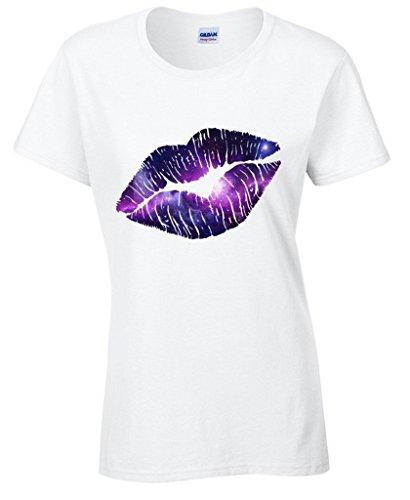 icustomworld Women's Lips Galaxy Logo T-shirt Lipstick Kiss Lips Tee Shirts S White