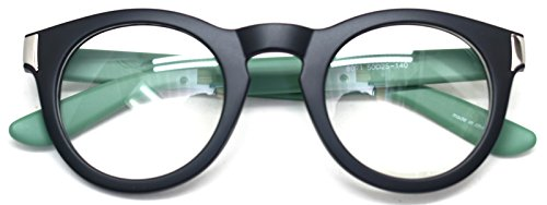Classic Round Horn Rimmed Eye Glasses Clear Lens Oval Non Prescription Frame (Black Green 8071, - Glasses Big Nerd Prescription