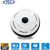 PLV Home Panoramic Wifi IP Camera APP Fisheye Wifi IP Camera Full 360 Degree Clear Vision 960P 1.3 Megapixel with Remote Viewing(White)
