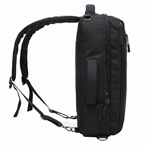 Neuleben 14 Zoll Laptop Rucksack Handtasche Schultertasche 3in1 mit USB Port Wasserfest Business Aktentasche Arbeitsrucksack Laptoprucksäcke Schulrucksack Damen Herren (Grau) Schwarz