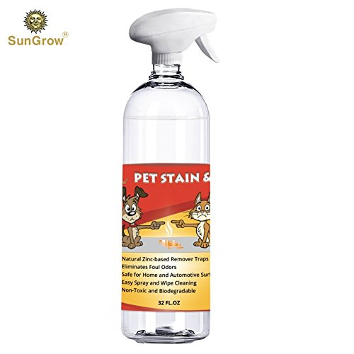 Pet Urine Stain & Odor Remover Spray - Dogs & Cats - Clear, Clean, Advanced Enzyme Blend Formula - Pleasant Green Tea Scent - Color Safe, Effective for Clothing, Rugs,Counter - Tops & Floor