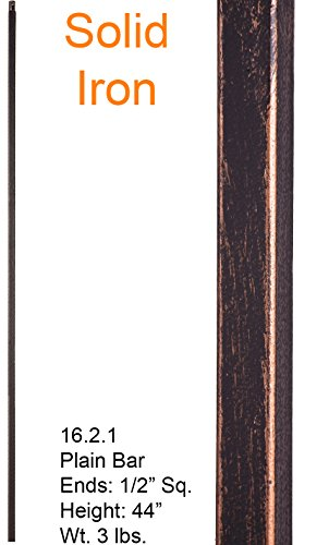 Oil Rubbed Bronze 16.2.1 Plain Straight Bar Iron Baluster for Staircase Remodel, Box of 5 by House of Forgings