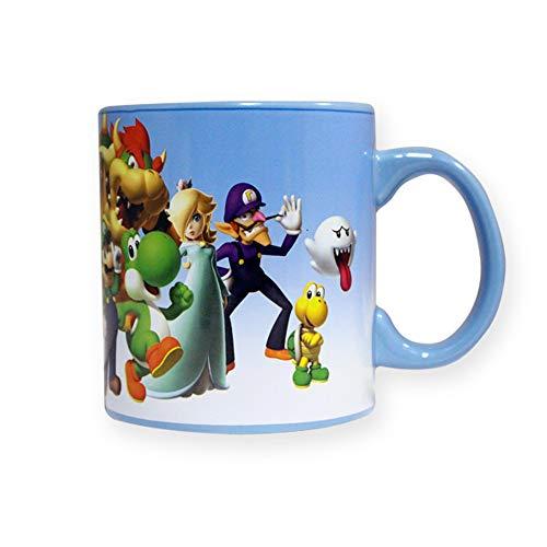 Super Mario Brothers multi-character Ceramic Coffee Mug w/inside featuring Mario printed, Blue, Set of 1, 20oz -