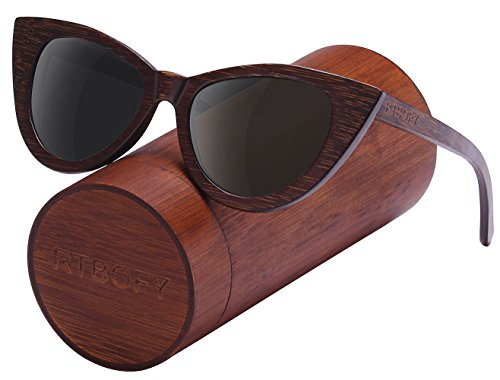 Wood Polarized Cat Eye Sunglasses For Women Wayfarer Style - 100% UV Protection (Brown, - Couple Sunglasses