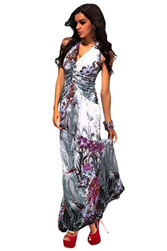 Pink Queen® Womens Halter Deep V Neck Backless Floral Print Maxi Dress XXL
