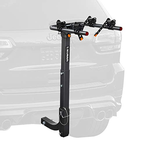 "IKURAM 2 Bike Rack Bicycle Carrier Racks Hitch Mount Double Foldable Rack for Cars, Trucks, SUV's and minivans with a 2"" Hitch Receiver"