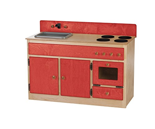 Furniture Barn USA Children's Play Sink-Stove Combo -Heartland Collection - Natural and Red Color