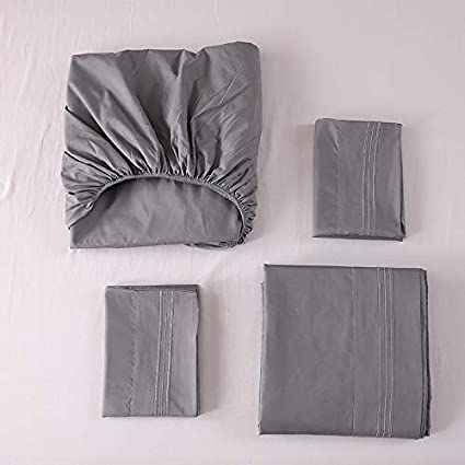 Styho Bedding 4 Piece Bed Sheet Set Double Brushed Microfibre Flat Sheet Fitted Sheet with Pillowcases Embroidery Bedding Black