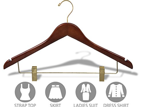 Wooden Combo Hanger with Adjustable Cushion Clips and Walnut Finish, Box of 100 Flat 17 Inch Wood Hangers with Brass Swivel Hook & Notches by The Great American Hanger Company by The Great American Hanger Company