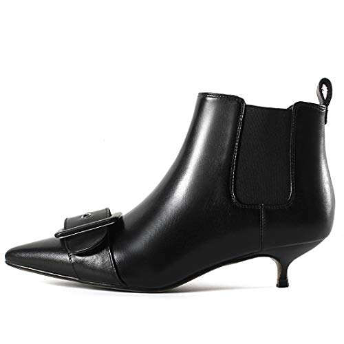 Cuir 40 Aiguille Cheville sur Jushee Juaboar Noir Bottes Tirez Femme Autres 0axOqw