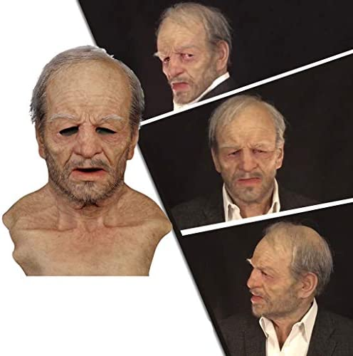 Karymi 【USA in Stock 】 Another Me-The Elder Old Man Mask, Funny Mask Wrinkle Scary Latex Realistic Headgear for Masquerade Halloween, Face Covering for Halloween Party Cosplay Headgear Decor Costumes