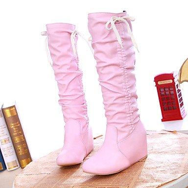 Botas de Mujer Otoño Invierno Comfort polipiel vestir casual Tacón Wedge Lace-up caminando Blushing Pink