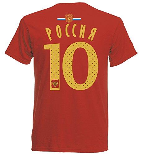 Russland Россия Herren T-Shirt Nummer 10 Trikot Fußball Mini EM 2016 T-Shirt - S M L XL XXL - rot NC ST-1