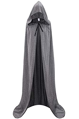 Silver Cape Costume (Unisex Halloween Cape Hooded Cloak Cosplay Christmas Party Adult Costume Outerwear (XL,)