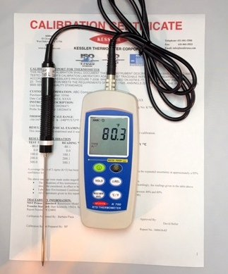 Kessler Thermometer REFERENCE PRECISION DIGITAL THERMOMETER 0.1ºC/0.1ºF -100 to +300ºC/-148ºC to 572ºF. Supplied with ISO 17025 Certificate Traceable to NIST.