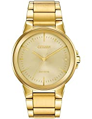 Mens Citizen Eco-Drive Axiom Gold Tone Stainless Steel Watch BJ6512-56P