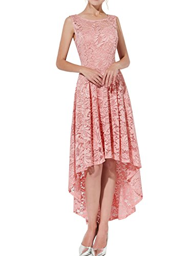 Bridesmaid Blush Lo Sleeveless Women's Dress Dress Lace Vintage Hi Party Swing AONOUR Cocktail Floral q65OO8